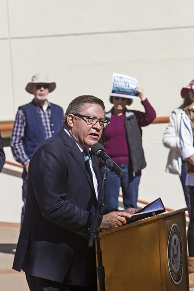 RESIST U.S. Rep. Salud Carbajal leads a press conference in San Luis Obispo on Feb. 13 against the Trump administration's proposal to open up federal waters off the West Coast to oil and gas leases. - PHOTO BY JAYSON MELLOM