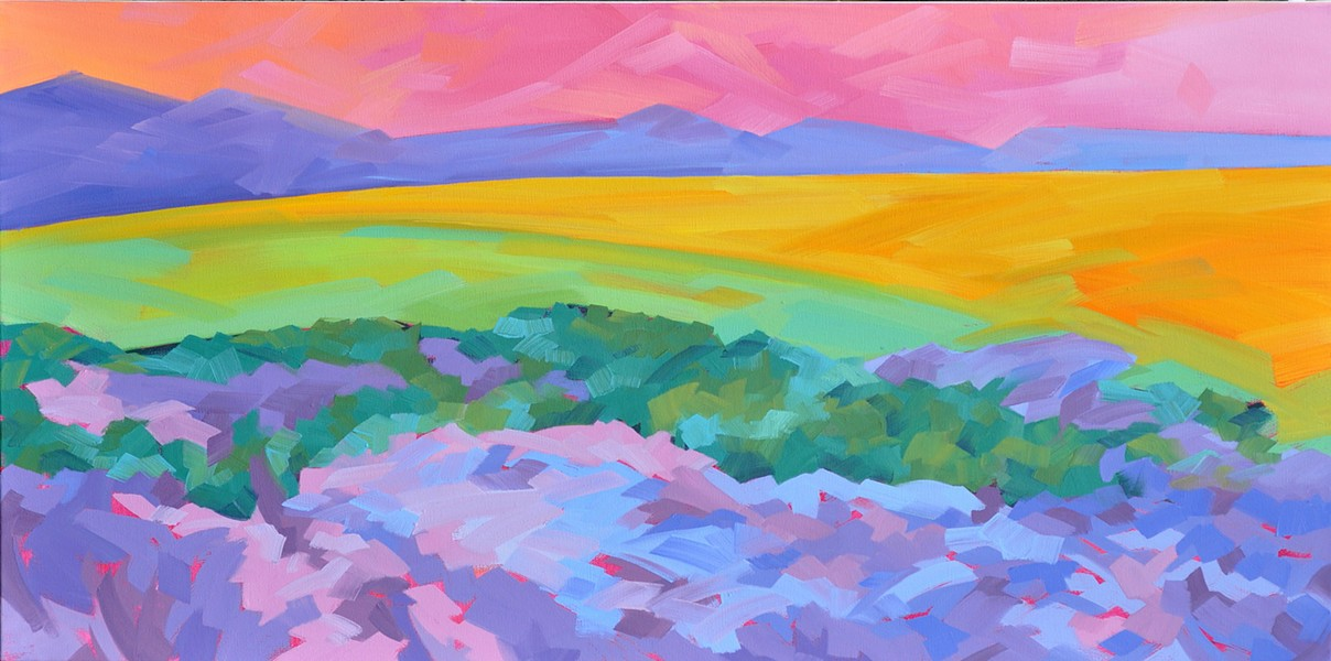SUPER BLOOM Anne Laddon's oil painting, Carrizo Spring, captures the vivid colors of the wildflowers in bloom at the Carrizo Plains last year after the Central Coast received more than its normal share of rainfall. - IMAGE COURTESY OF ANNE LADDON