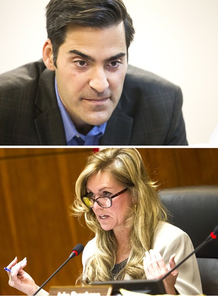 CASH Candidates running for office in SLO County raised more than $1.5 million in the first four months of 2018. SLO County 4th District supervisor candidates Jimmy Paulding (top) and Lynn Compton (bottom) raised more than $398,000 in that period as they prepare to face off in the June primary. - FILE PHOTOS BY JAYSON MELLOM