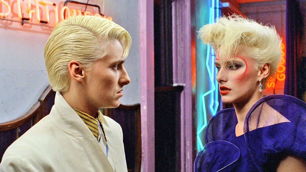 TWINSIES! Anne Carlisle stars as both Jimmy (left), a cocaine-addicted androgynous fashion model, and Margaret, his equally androgynous bisexual nymphomaniac nemesis fashion model. - PHOTO COURTESY OF Z FILMS INC.