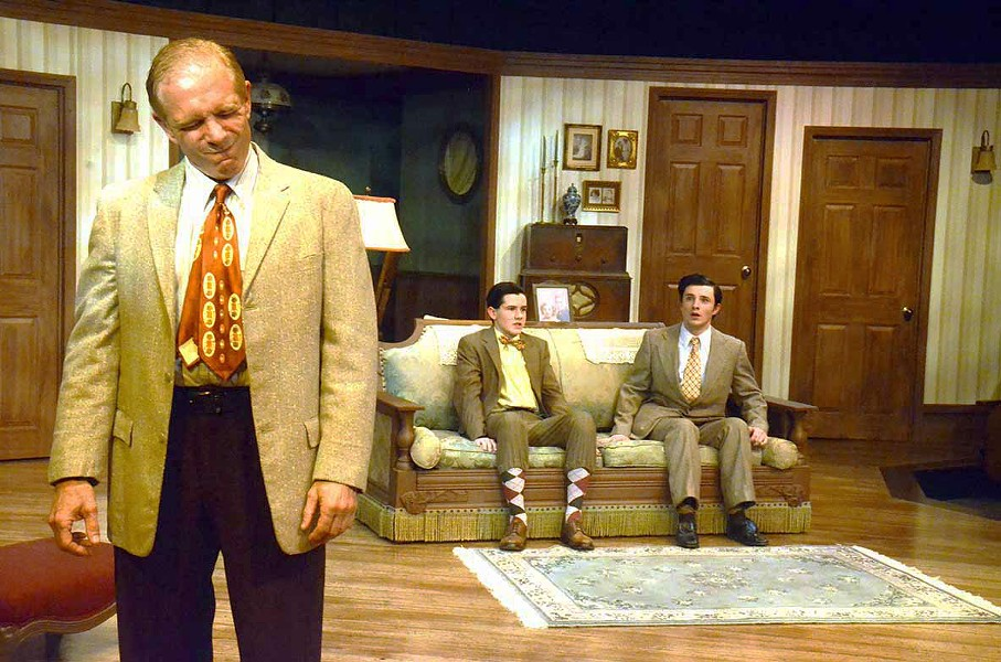 HARD TIMES After incurring debt caring for his dying wife, Eddie (Gregg Wolff, left) must leave his two sons, Arty (Phineas Peters) and Jay (Elliot Peters), with his stern, estranged mother so he can work as a traveling salesman. - PHOTO COURTESY OF JAMIE FOSTER PHOTOGRAPHY
