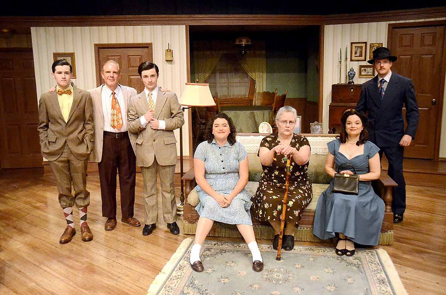 DYSFUNCTIONAL The pain and distance between family members and their matriarch is exposed when two teens come to live with their grandmother. From left to right: Arty (Phineas Peters), Eddie (Gregg Wolff), Jay (Elliot Peters), Bella (Kerry DiMaggio), Grandma (Patty Thayer), Gert (Jackie Hildebrand), and Louie (Mike Fiore). - PHOTO COURTESY OF JAMIE FOSTER PHOTOGRAPHY