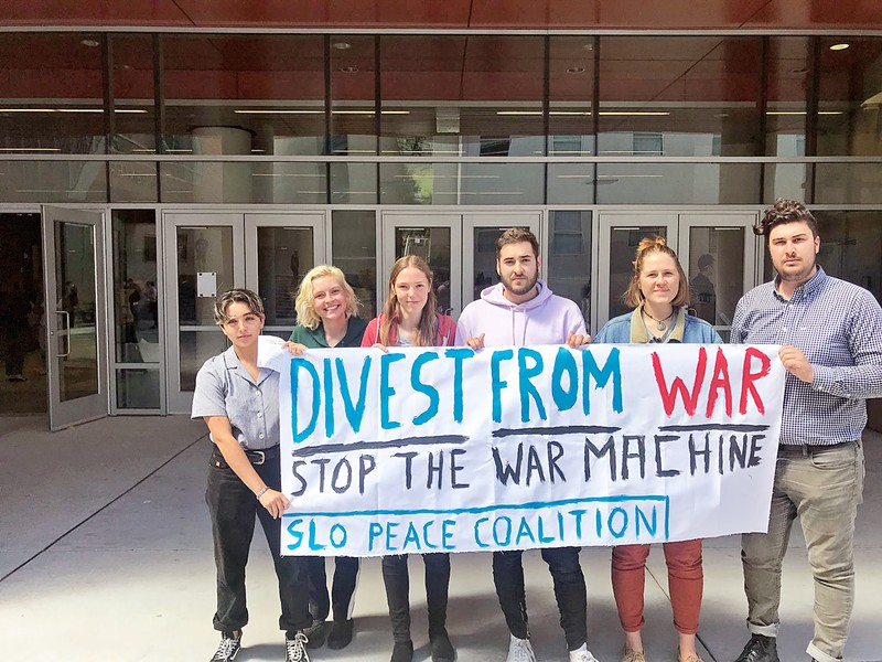 NO PROTESTS ALLOWED Five Cal Poly students are reportedly under investigation for staging a protest against defense contractor Raytheon at a recent campus career fair. - PHOTO COURTESY OF FACEBOOK
