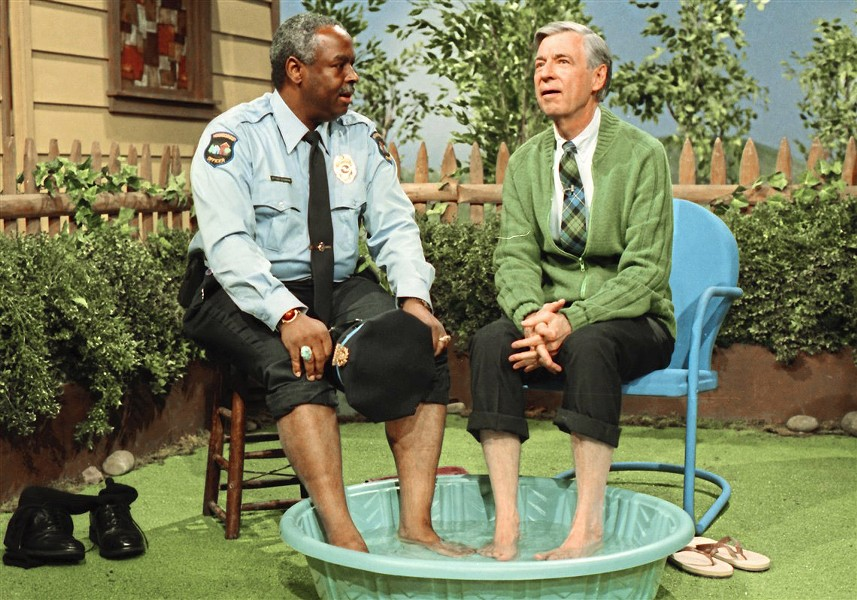 FORWARD THINKER François Scarborough Clemmons (left) and Fred Rogers share a pool of water at a time when whites and blacks didn't swim together. - PHOTO COURTESY OF TREMOLO PRODUCTIONS