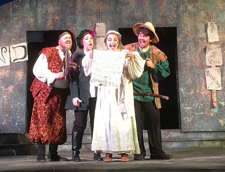 CONFESSIONS OF LOVE The runaways find Orlando's poetic confessions of love strewn across the forest in Central Coast Shakespeare Festival's production of As You Like It. - PHOTO COURTESY OF THE CENTRAL COAST SHAKESPEARE FESTIVAL