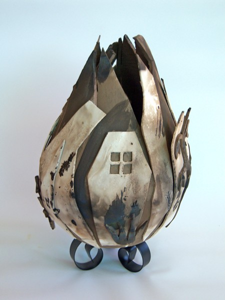 CATASTROPHIC Rebecca Wamsley's ceramic and steel sculpture, Aftermath, is reminiscent of the charred remains of a home after a fire. - IMAGE COURTESY OF REBECCA WAMSLEY