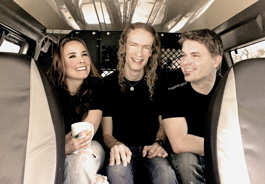 IN THE VAN The Travis Larson Band (Jennifer Young, Larson, and Dale Moon) are hot off a multi-month national tour but back home now with a show at Sweet Springs Saloon on Sept. 1. - PHOTO COURTESY OF THE TRAVIS LARSON BAND
