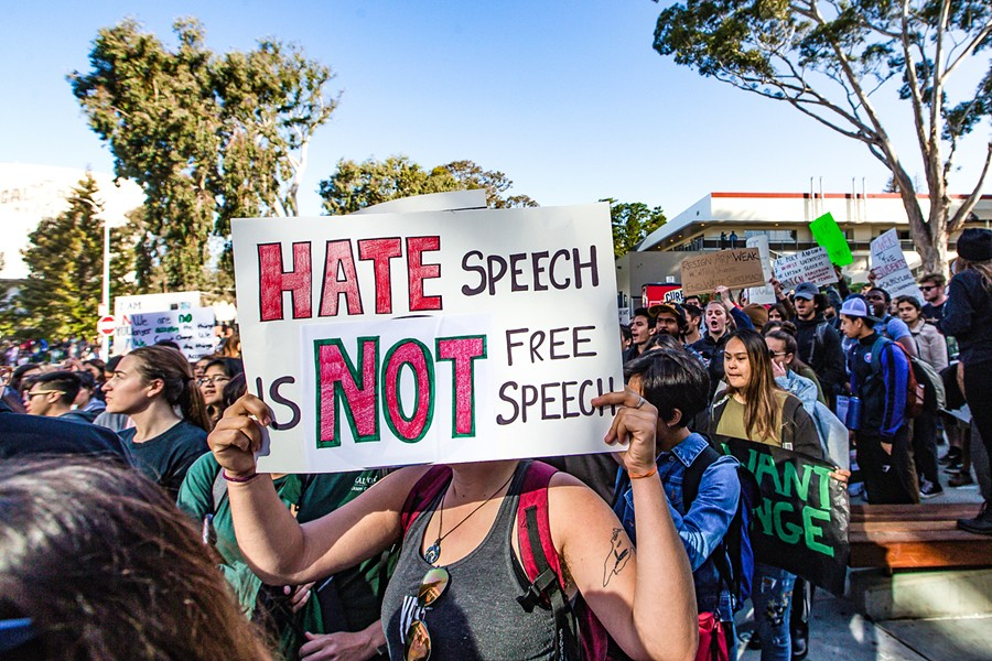 NEW YEAR, NO SUSPENSION Racist incidents at Cal Poly fraternities dominated headlines throughout the country last spring, sparking protests (pictured) and a blanket suspension on Greek life at the school, which Cal Poly recently lifted. - FILE PHOTO BY JAYSON MELLOM