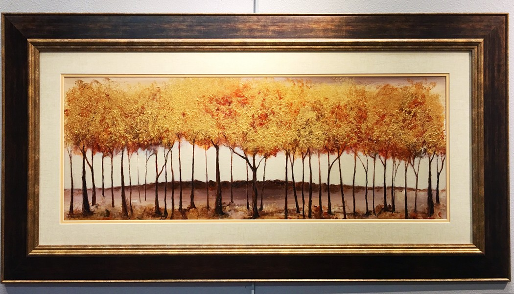 TEXTURE In her work in pieces like Golden Autumn (above) and Ebb and Flow (below), Atascadero artist Melodie Jordan often uses beads, sand, and other materials to achieve an interesting texture that contrasts with her use of acrylic paints. - IMAGE COURTESY OF MELODIE JORDAN