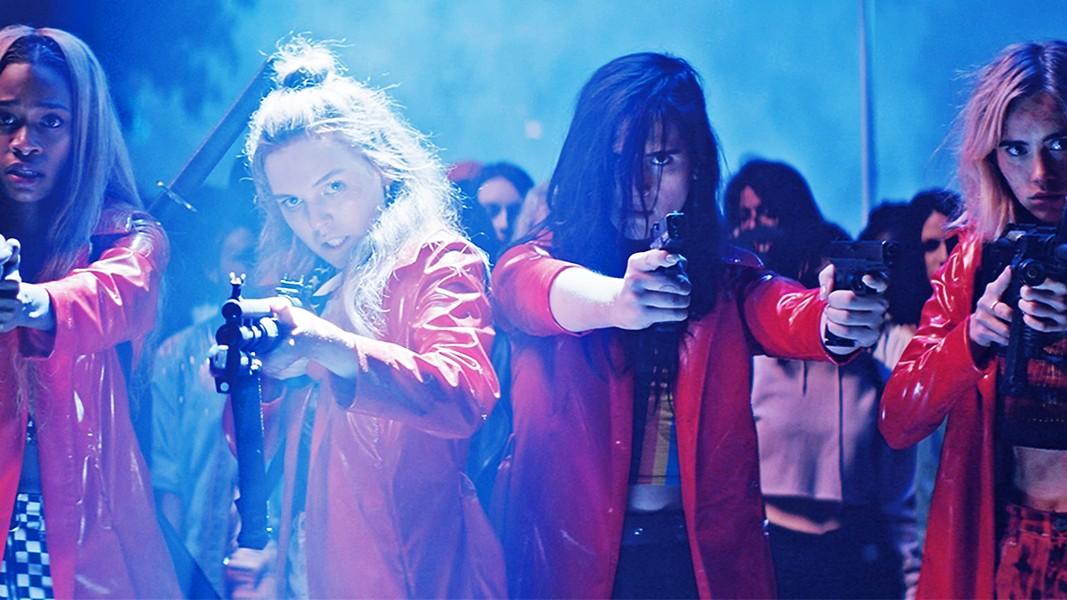 SERVED COLD A group of high school girls takes revenge into their own hands when an anonymous hacker starts posting details of their private lives online, in Assassination Nation. - PHOTO COURTESY OF BRON STUDIOS