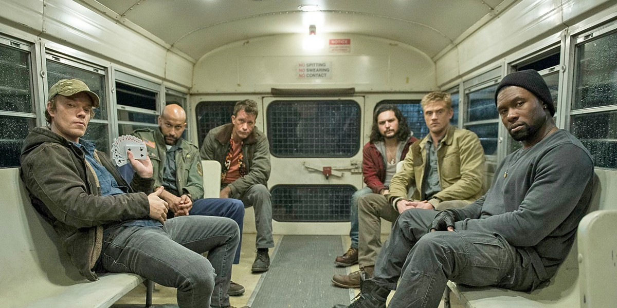 CUCKOO'S NEST A group of mentally disturbed soldiers—(right to left) Lynch (Alfie Allen), Coyle (Keegan-Michael Key), Baxley (Thomas Jane), Nettles (Augusto Aguilera), Quinn (Boyd Holbrook), and Nebraska (Trevante Rhodes)—take on an alien trophy hunter, in the illogical sequel, The Predator. - PHOTO COURTESY OF TWENTIETH CENTURY FOX