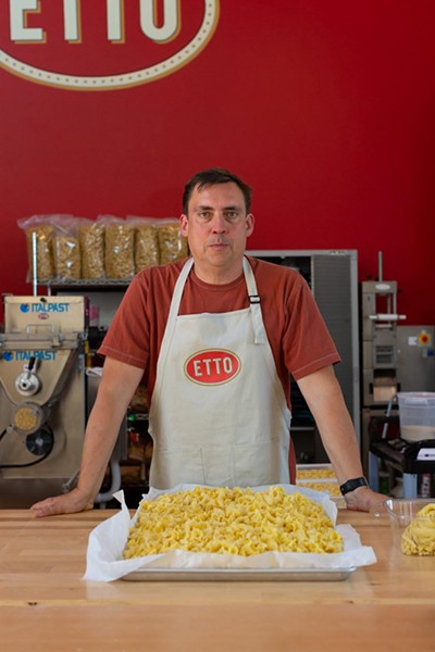 HOLY MACARONI Etto owner Brian Terrizzi is splitting his focus between an old and new love: The first, his winery, Giornata, and second, his pasta factory, Etto, which opened about six months ago in Tin City. Both are inspired by Italian artistry and both work quite well when paired together. - PHOTO COURTESY OF LEILA SAPPA