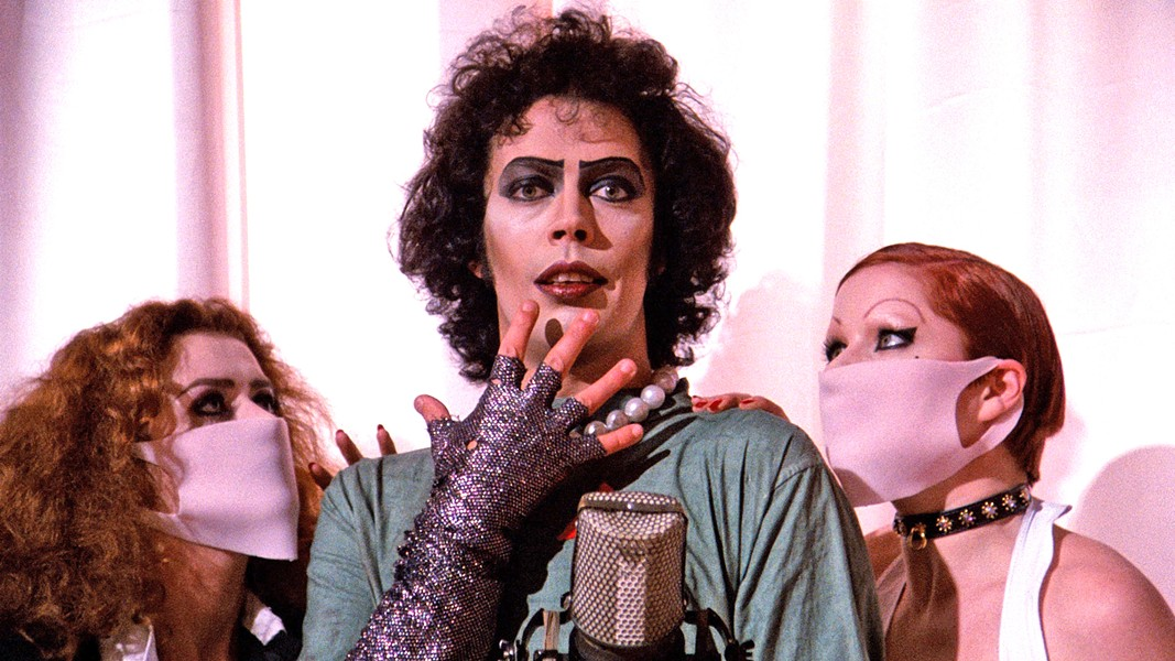 SWEET TRANSVESTITE! Tim Curry (center) stars as Dr. Frank-N-Furter, in the 1975 cult classick The Rocky Horror Picture Show, screening on Oct. 31, at the SLO Brew Rock Event Center. - PHOTO COURTESY OF TWENTIETH CENTURY FOX