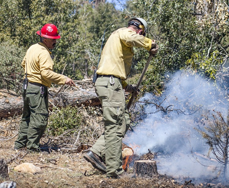 PRESCRIPTION U.S. Forest Service crew members work on a controlled burn in Los Padres National Forest in April 2018. The work included clearing brush and curing wood for small pile fires. Once reduced to ash, they are doused with water and mixed back in with the soil. - FILE PHOTO BY SPENCER COLE