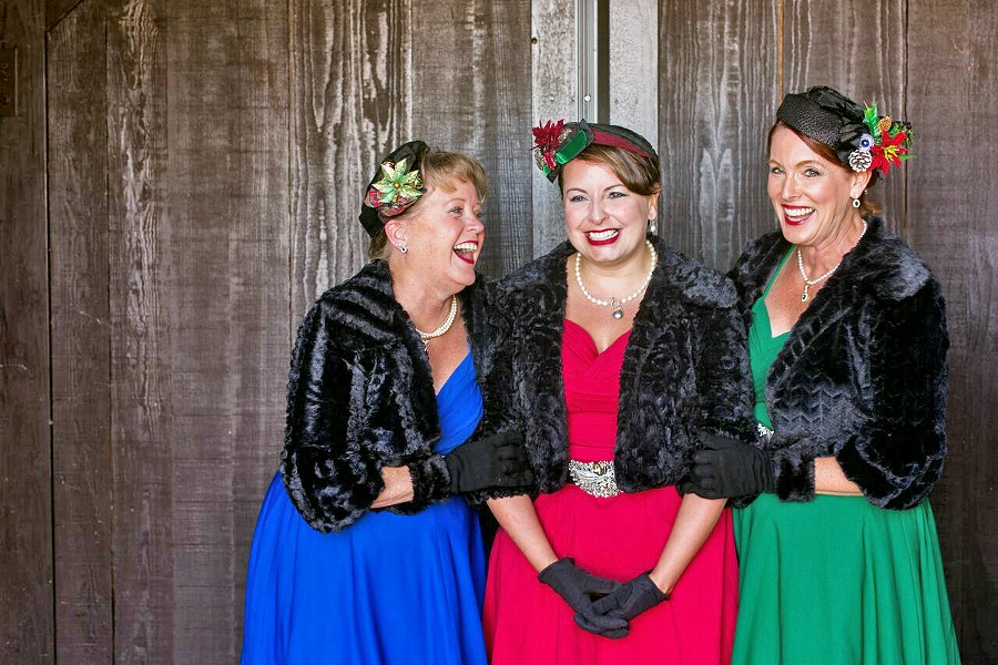FIFTIES SASS! The Jingle Belles—(left to right) Linda A. Wilson, Terri Kahn, and Donna Jones—perform in the spirit of The Andrews Sisters, with original arrangements and tight harmonies. - PHOTO COURTESY OF HOLLEY ELIZABETH PHOTOGRAPHY