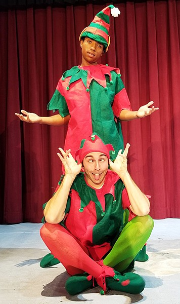 BREAK A LEG! Joel (Josh Gamble) and Ken (Greg DeMartini) rehearse for a Christmas show where anything and everything goes wrong, from a baby being born backstage to the iced tea being spiked with painkillers on opening night. - PHOTOS COURTESY OF CAMBRIA CENTER FOR THE ARTS