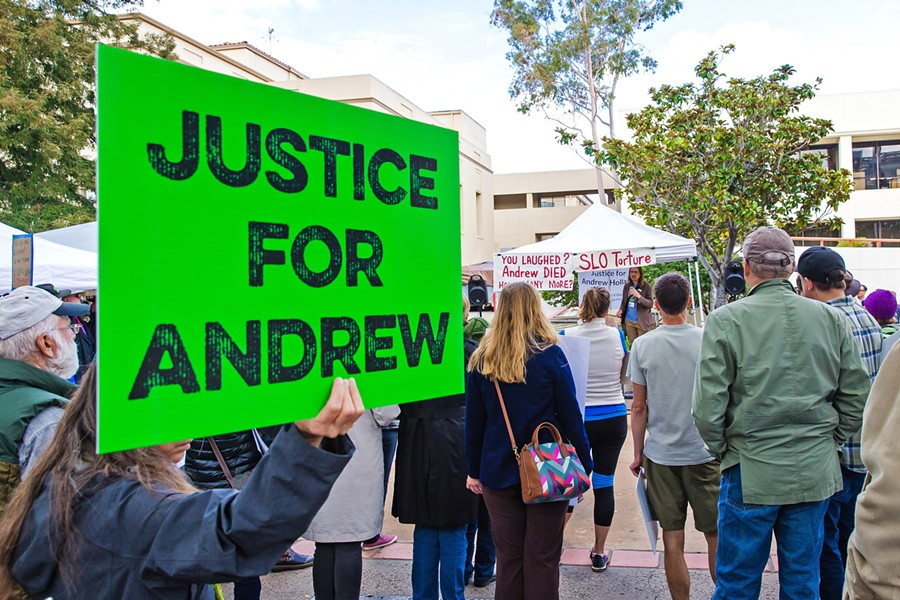 ELECTION PROTEST Some SLO County residents protested for change in top law enforcement positions before the June primary election, citing county jail inmate Andrew Holland's 2017 death while in custody as the tipping point. - FILE PHOTO BY JAYSON MELLOM