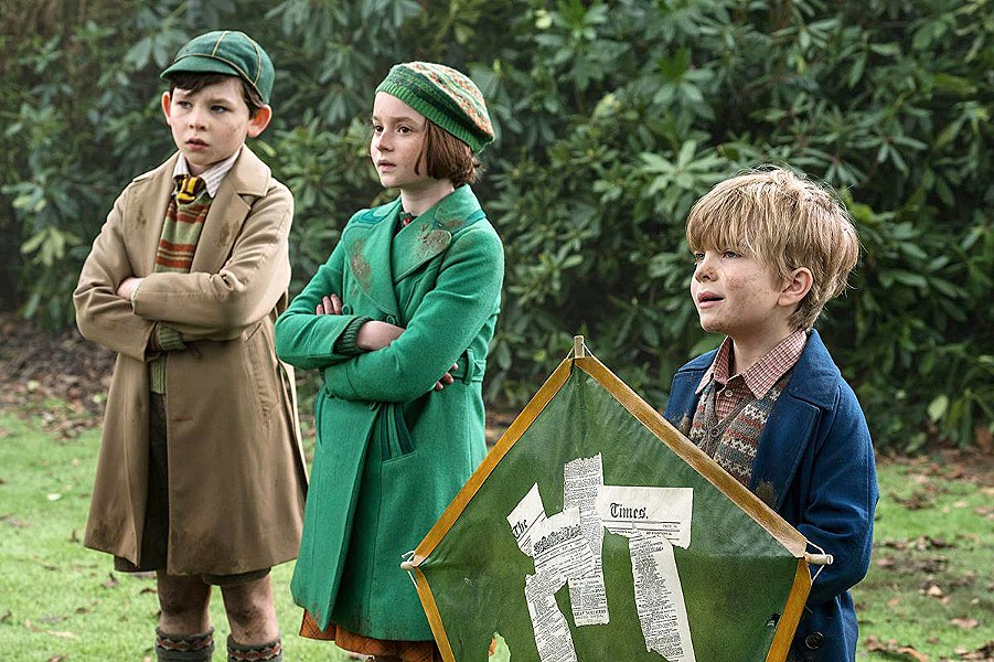 INCREDULOUS The Banks children—(left to right) John (Nathanael Saleh), Anabel (Pixie Davies), and Georgie (Joel Dawson)—don't think they need a nanny but quickly learn otherwise. - PHOTOS COURTESY OF WALT DISNEY PICTURES