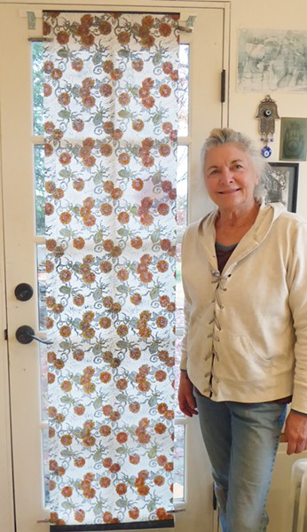 INK, PRESS, REPEAT Atascadero artist Beth Kilimnik took inspiration from an insect to create her banner, Fiery Searcher Beetle. - PHOTO COURTESY OF BETH KILIMNIK