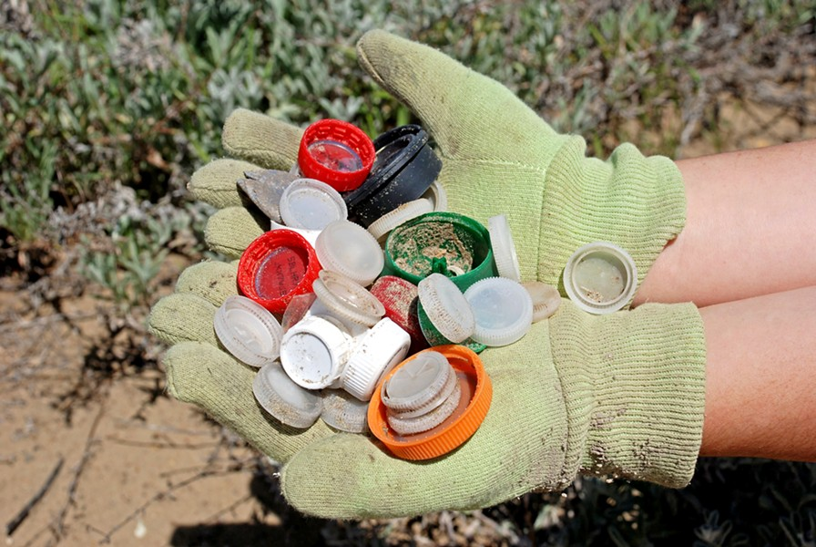 TRASH CAPS ECOSLO needs help continuing its Beach Keepers program into 2019. Contact the nonprofit at (805) 544-1777 to sponsor a cleanup day. - PHOTO COURTESY OF ECOSLO