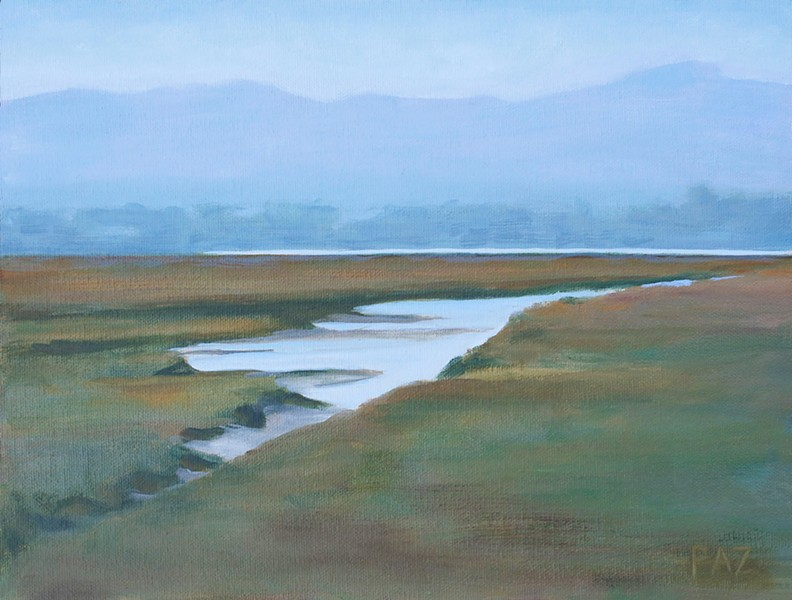MORRO BAY The rivers and rivulets within the Morro Bay Estuary are endlessly fascinating to artist Tracy Paz, who painted October Estuary. - IMAGE COURTESY OF TRACY PAZ