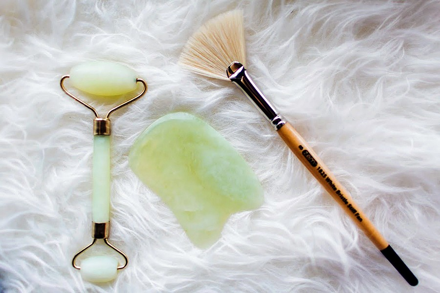 RELAXATION In addition to her all-natural and CBD products, Blanco uses a jade roller and Gua Sha tools to further enhance the oils and creams applied to the face. - PHOTOS COURTESY OF ASIA CROSON PHOTOGRAPHY