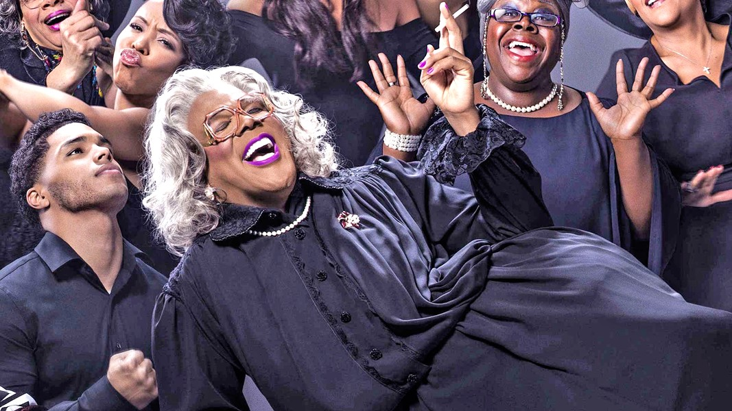 SHE'S BACK Madea (writer-director-actor Tyler Perry, center) returns in this new story about Madea and her crew planning an unexpected funeral, in A Madea Family Funeral. - PHOTO COURTESY OF THE TYLER PERRY COMPANY