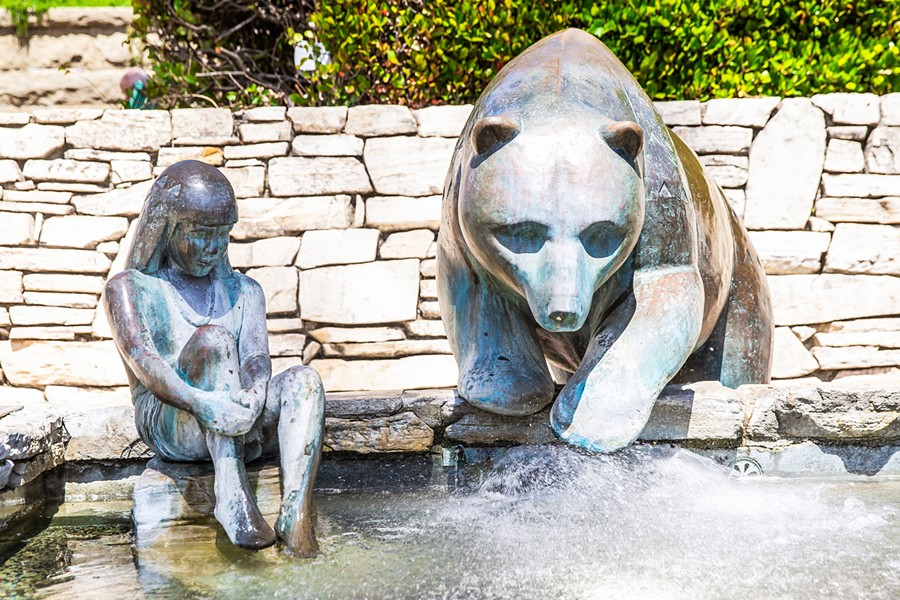 PUBLIC ART Paula Zima, the artist behind Mission Plaza's bear and child sculpture, is the sculptor for a proposed monument of former President Teddy Roosevelt. Objections from local indigenous groups and others have put the project on hold. - PHOTO BY JAYSON MELLOM