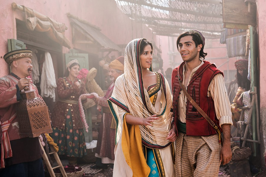 YOUNG LOVE Can street urchin Aladdin (Mena Massoud, right) win the heart of Jasmine (Naomi Scott)? Find out in the live-action remake of Aladdin. - PHOTO COURTESY OF WALT DISNEY PICTURES