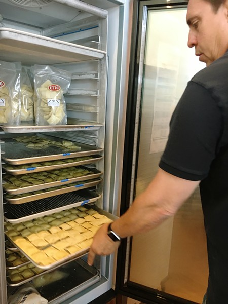 WHAT'S INSIDE YOUR RAVIOLI? Etto pasta factory embraces local food and Italian inspiration. The pasta is made with west coast organic durum semolina flour and the ravioli fillings change on a regular basis. In early June, those flavors were spinach, cheese, and mushroom and truffle and cheese. - PHOTOS BY BETH GIUFFRE