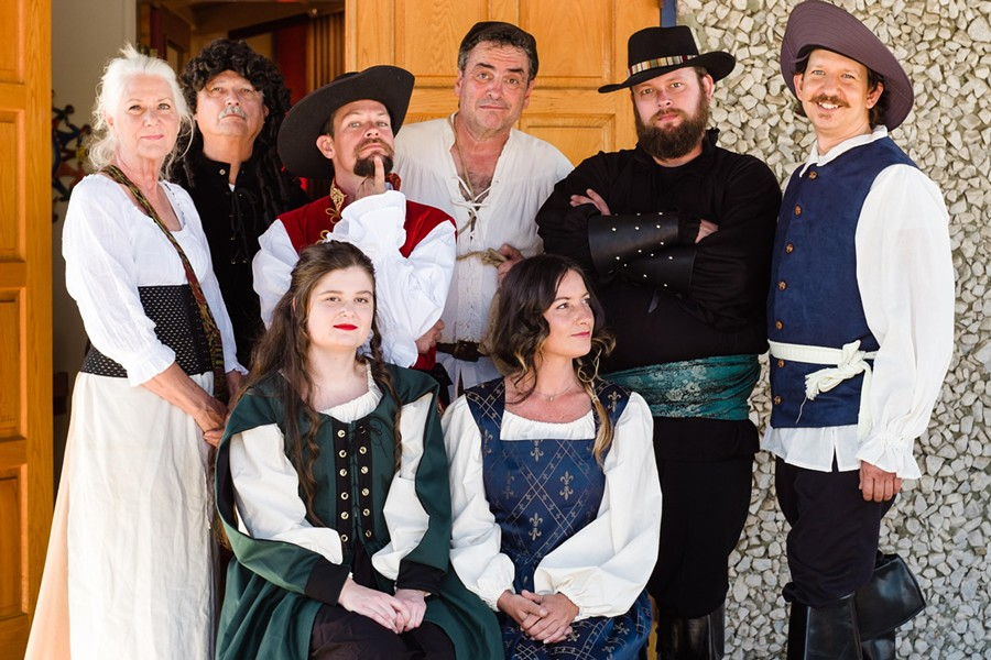 LYING LIAR Who's telling the truth and who's lying in By The Sea Productions' version of comical farce The Liar? The full cast is, from left to right, standing, Isabelle/Sabine (Jean Miller), Geronte (Larry Barnes), Dorante (Nik Coffey), Cliton (Ed Cardoza), Alcippe (Travis Horton), and Philliste (Chris Blicha). Seated: Clarice (Bailey Satterfield, left) and Lucrece (Deirdre Loy). - PHOTO COURTESY OF IAIN MACADAM