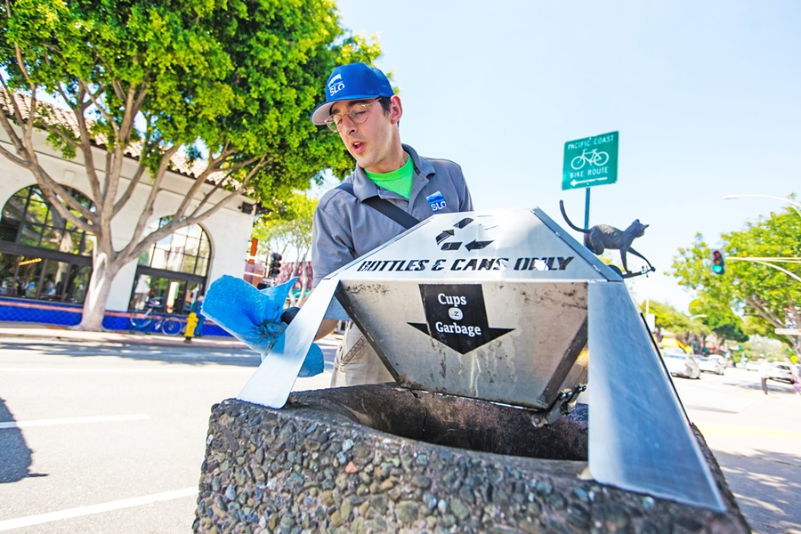 WITHDRAWN Downtown San Luis Obispo is tabling an effort to form a new downtown property district, which would have funded four to five new ambassadors like Austin Bertucci (pictured) to perform cleaning and outreach services. - FILE PHOTO BY JAYSON MELLOM