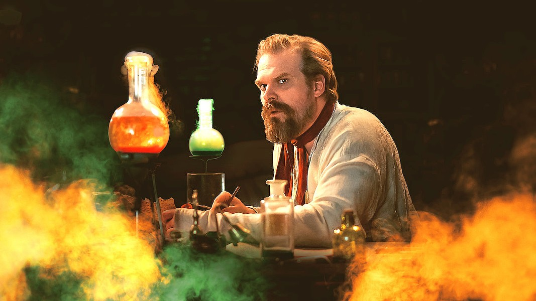 MONSTROUS FUN Was he a man or a monster? Or both? David Harbour (Stranger Things) attempts to answer that and other questions about his fictional father in Netflix's campy mockumentary romp, Frankenstein's Monster's Monster, Frankenstein. - PHOTO COURTESY OF NETFLIX