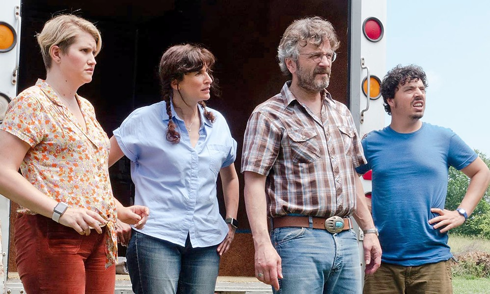 ANTIQUES SIDESHOW (Left to right) Cynthia (Jillian Bell), Mary (Michaela Watkins), Mel (Marc Maron), and Nathaniel (Jon Bass) embark on a journey to sell an antique sword that purportedly proves the South won the Civil War, in Sword of Trust. - PHOTO COURTESY OF FORAGER FILMS