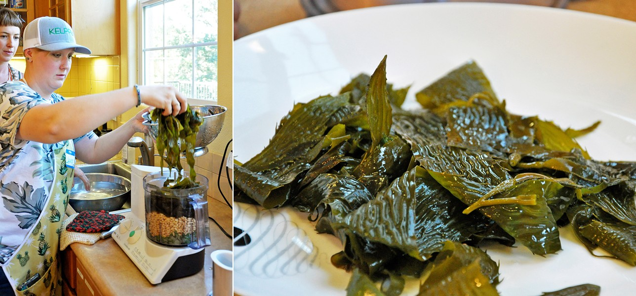 PESTO PESTO Kelpful co-founder Jules Marsh drops recently boiled giant kelp into a food processor to make pesto—and it was delicious. - PHOTO BY CAMILLIA LANHAM