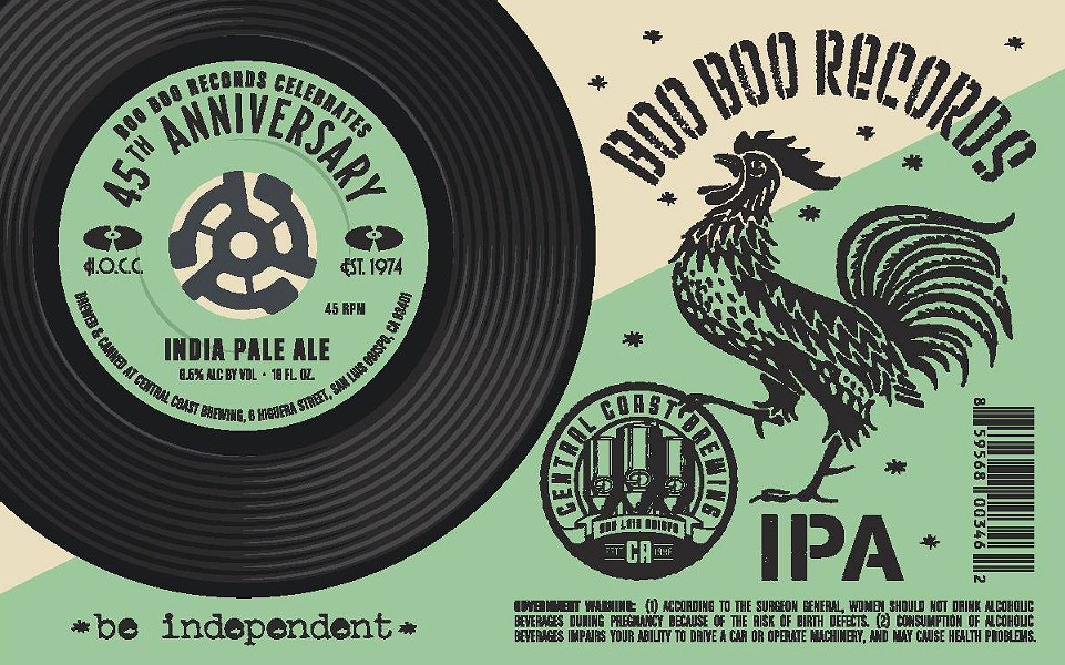 CHEERS TO BOO BOO'S Central Coast Brewing is offering a special 8.6-percent alcohol IPA to celebrate Boo Boo Records' 45th anniversary. - PHOTO COURTESY OF BOO BOO RECORDS  AND CENTRAL COAST BREWING