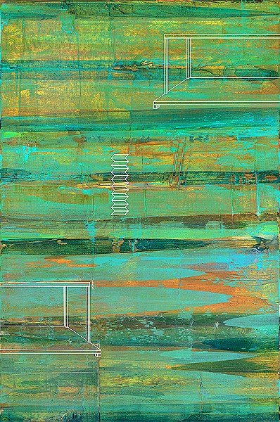 OCEAN HUES Coordinates, by Central Coast artist Rebecca Koury, draws inspiration from the ever-changing and evolving nature of the ocean. The white outline overlay also asks viewers to think about movement and change. - IMAGES COURTESY OF REBECCA KOURY