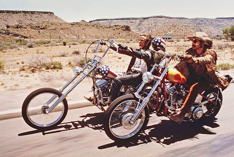 CAPTAIN AMERICA Wyatt (Peter Fonda, left) and Billy (Dennis Hopper) set off from LA to New Orleans on a doomed adventure, in Easy Rider, screening on Sept. 27, at the Fremont Theater. - PHOTO COURTESY OF PANDO COMPANY INC.