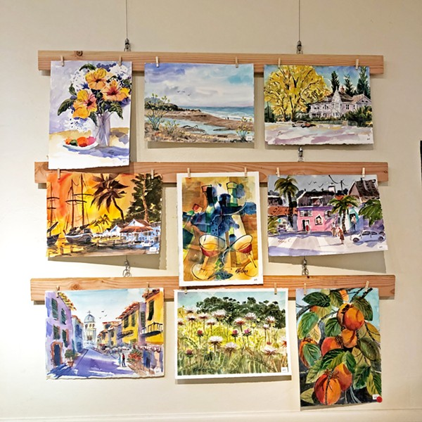 A SAMPLING Late Cambrian artist Steve Kellogg painted hundreds of works in his lifetime. Pictured here are several that are part of his retrospective exhibit at the Cambria Center for the Arts. - PHOTOS BY MALEA MARTIN