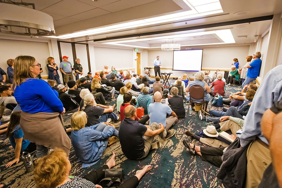 DUNES DEBATE Hundreds of people from across the state attended a California Coastal Commission meeting in San Luis Obispo on July 11, where commissioners considered recommendations to limit off-highway vehicle riding in the Oceano Dunes State Vehicular Recreation Area. - FILE PHOTO BY JAYSON MELLOM