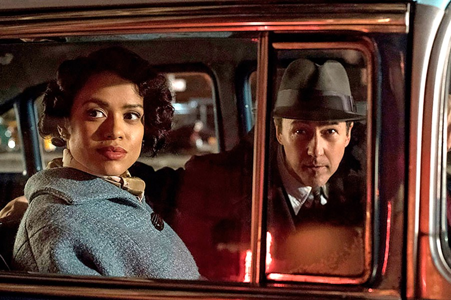 MYSTERY WOMAN Laura Rose (Gugu Mbatha-Raw, left) is at the center of a mystery private eye Lionel Essrog (Edward Norton) is determined to solve, in this effective neo-noir crime drama. - PHOTOS COURTESY OF WARNER BROS. PICTURES