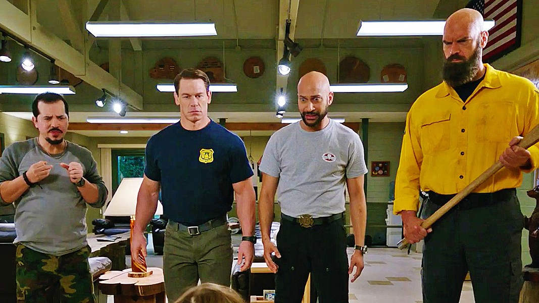UNPREPARED A group of tough-as-nails firefighters (left to right: John Leguizamo, Michael Cena, Keegan-Michael Key, and Tyler Mane) are out of their element when they have to take care of three rescued kids, in Playing with Fire. - PHOTO COURTESY OF NICKELODEON MOVIES