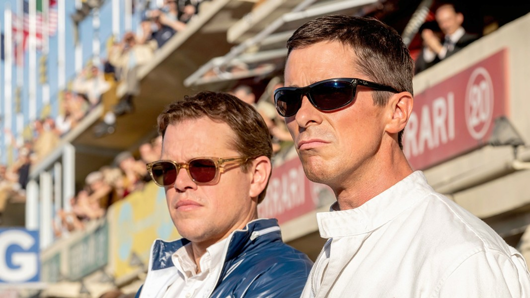 ROAD WARRIORS Car designer Carroll Shelby (Matt Damon, left) and race car driver Ken Miles (Christian Bale) team up to try to beat a Ferrari in the 24 Hours of Le Mans race, in Ford v Ferrari. - PHOTO COURTESY OF TWENTIETH CENTURY FOX