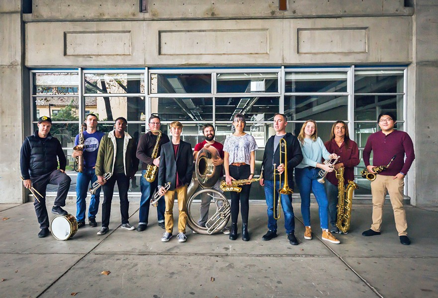 NOW ON VIDEO Local horn band Brass Mash will release its video album Hard Brass on Nov. 29, on YouTube, Facebook, and Instagram TV. - PHOTO COURTESY OF BRASS MASH