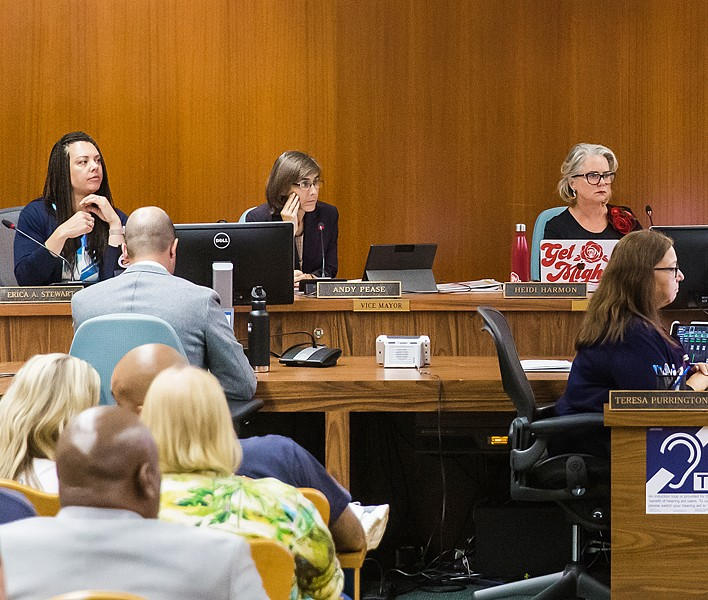 IN LIMBO SLO's all-electric building code is on hold pending an investigation into conflict-of-interest allegations against SLO Vice Mayor Andy Pease (center). - FILE PHOTO BY JAYSON MELLOM