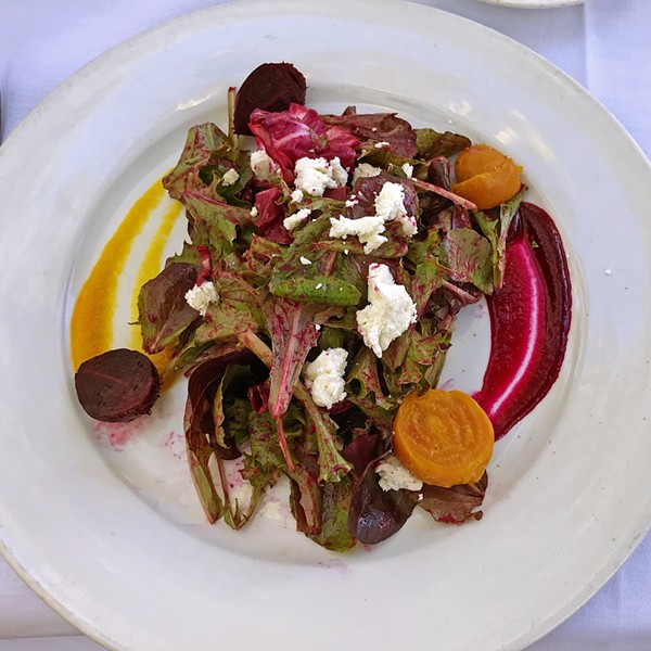 BEET SEASON Novo owner Robin Covey, who opened Robin's in Cambria in 1985 (the area's first farm-to-table restaurant), personally selects everything seasonal for Novo's menu from the downtown SLO farmers' market. Right now the beets are fresh and flavor packed. Chef Avila recommends the beet salad for your first course. Garnished with a lovely two-colored beet purée and topped with Central Coast Creamery goat cheese, it will feed your body and soul. - PHOTOS BY BETH GIUFFRE