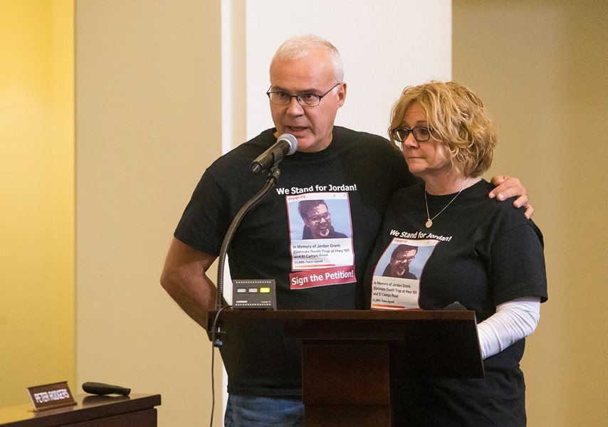 CLOSING EL CAMPO James and Becky Grant advocated for the closure of four intersections on Highway 101 between Los Berros Road and Traffic Way after their son James Grant was killed in a motorcycle accident in October 2018. - FILE PHOTO BY JAYSON MELLOM