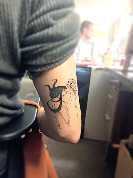 NO RAGRETS Based on an illustration by Aubrey Beardsley, my new tattoo was hand-poked with love at Come What May in LA. - PHOTOS BY KASEY BUBNASH