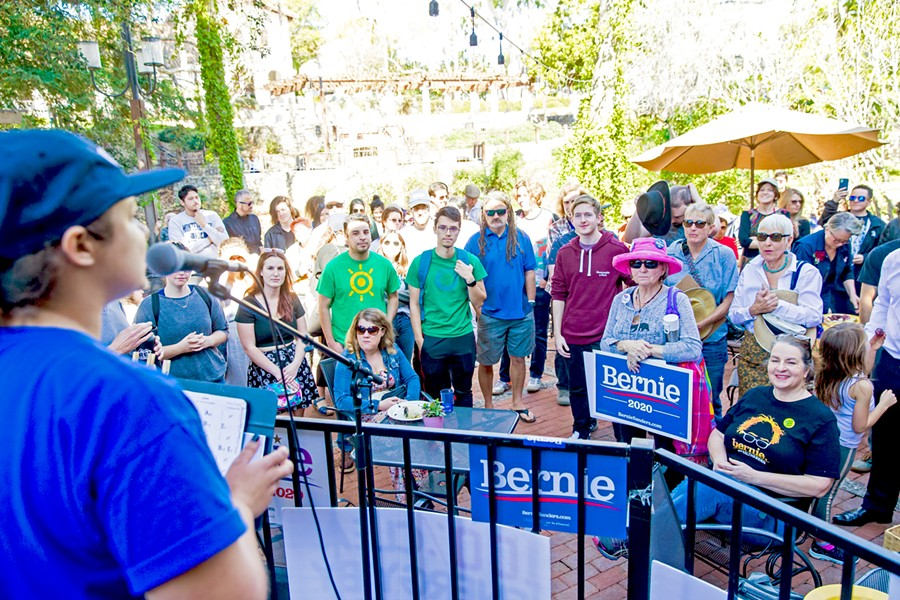 """BOOST FOR BERNIE About 75 local voters attended a """"Bernie Barnstorm"""" in downtown San Luis Obispo to support Sen. Bernie Sanders (D-Vermont) for president on Feb. 16. - PHOTOS BY JAYSON MELLOM"""