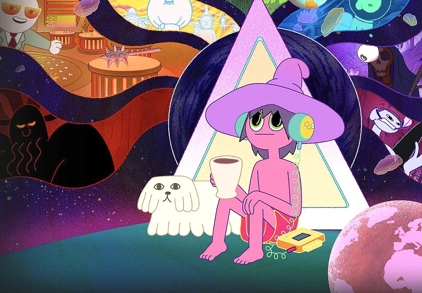 HEAD TRIP Clancy (voiced by Duncan Trussell), a podcaster with one listener, uses his malfunctioning multiverse simulator to visit dying worlds and interview their inhabitants, in The Midnight Gospel, a batshit-crazy animated series on Netflix. - PHOTO COURTESY OF NETFLIX AND TITMOUSE